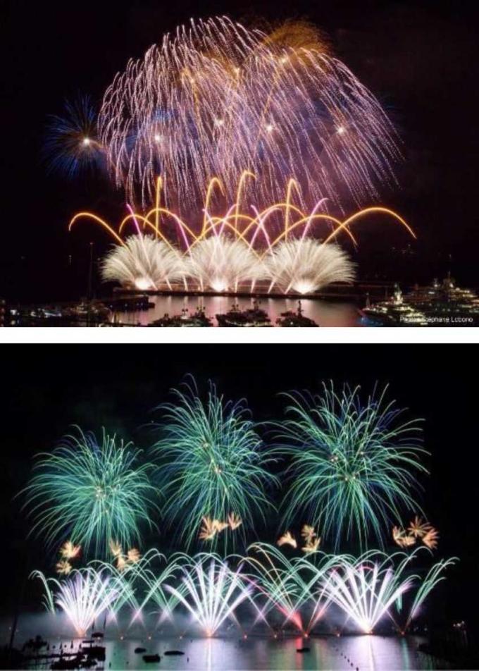 Hình ảnh pháo hoa rực rỡ, nhiều sắc màu của đội pháo hoa Anh.