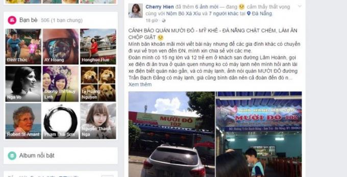 Lời tố quán chặt chém trên FB của chị Hiền.