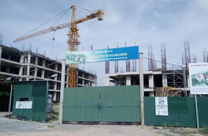 Ảnh chụp sáng 13/9 tại dự án Khu chung cư nhà ở xã hội KCN Hòa Khánh do Công ty CP Địa ốcXanh Sài Gòn - Thuận Phước làm chủ đầu tư.