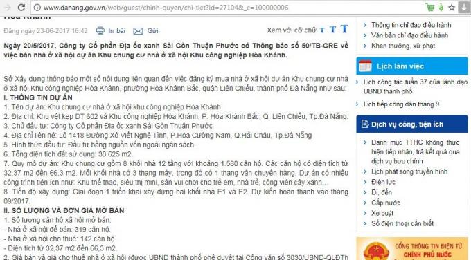 Trong công văn gửi Sở Xây dựng, Công ty Địa ốc Xanh Sài Gòn Thuận Phước cho biếttiến độ giai đoạn 1 sẽ hoàn thành vào tháng 9/2017.