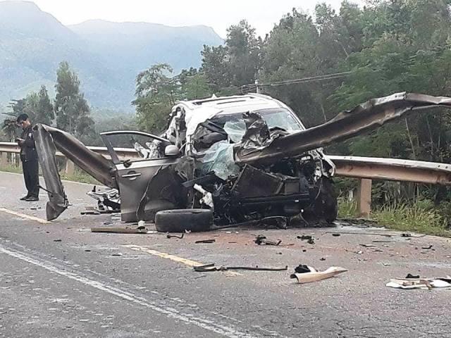 Hiện trường vụ tai nạn khiến 4 người thương vong. Ảnh: Báo Quảng Nam.