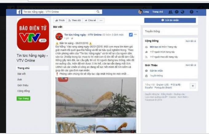 Một facebook giả mạo của VTV tung tin đồn thất thiệt về Đà Nẵng.
