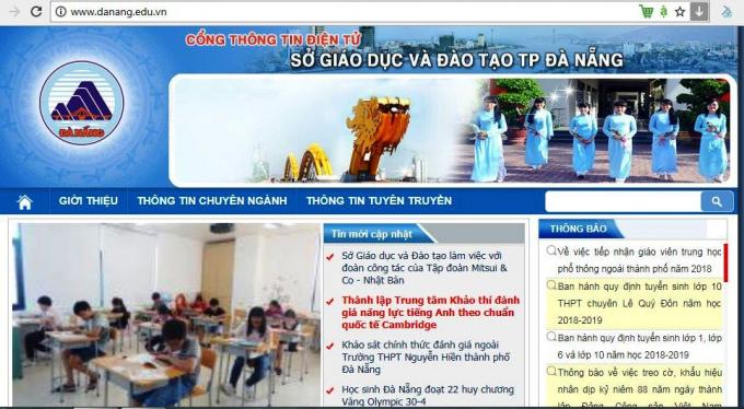 Sở GD&ĐT TP Đà Nẵng chỉ sử dụng một website duy nhất.
