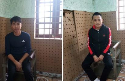 Đối tượng Trần Đình Quảng và Phạm Văn Hải tại cơ quan công an.