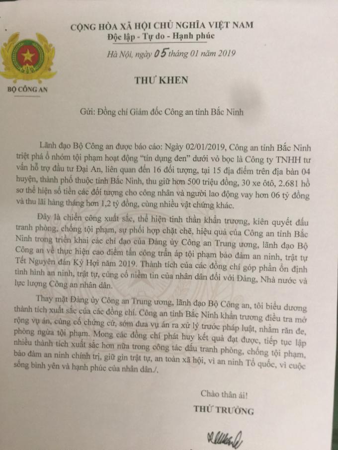 Thượng tướng Lê Qúi Vương - Thứ trưởng Bộ Công An gửi thư khen Công an tỉnh Bắc Ninh.