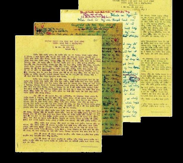 Một số trang bản thảo bài thuyết trình Hiến pháp của cụ Đỗ Đức Dục.