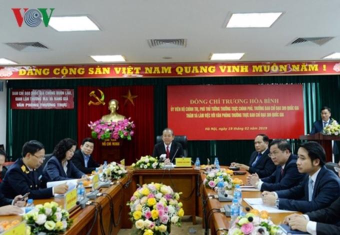 Phó Thủ tướng Trương Hòa Bình làm việc với Ban Chỉ đạo 389 Quốc gia (Ảnh: vov.vn).