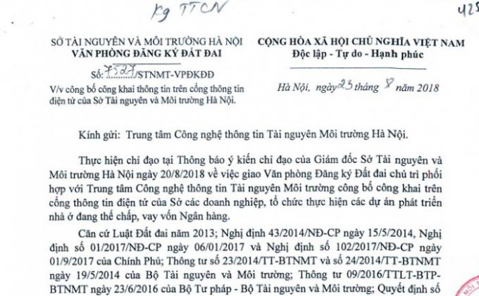Văn bản của Văn phòng đăng ký đất đai Thành phố Hà Nội về việc công bố thông tin danh sách các dự án bất động sản đang thế chấp, vay vốn ngân hàng.