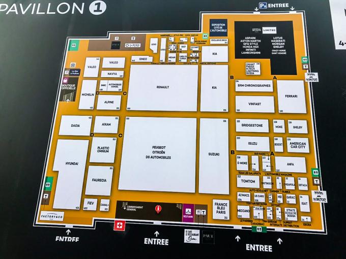 Gian hàng của VinFast nằm tại Pavillon 1 – khu triển lãm Paris Motorshow, bên cạnh những tên tuổi lớn như Ferrari, Suzuki... Triển lãm Paris Motor Show sẽ diễn ra từ 2/10 đến 14/10/2018.