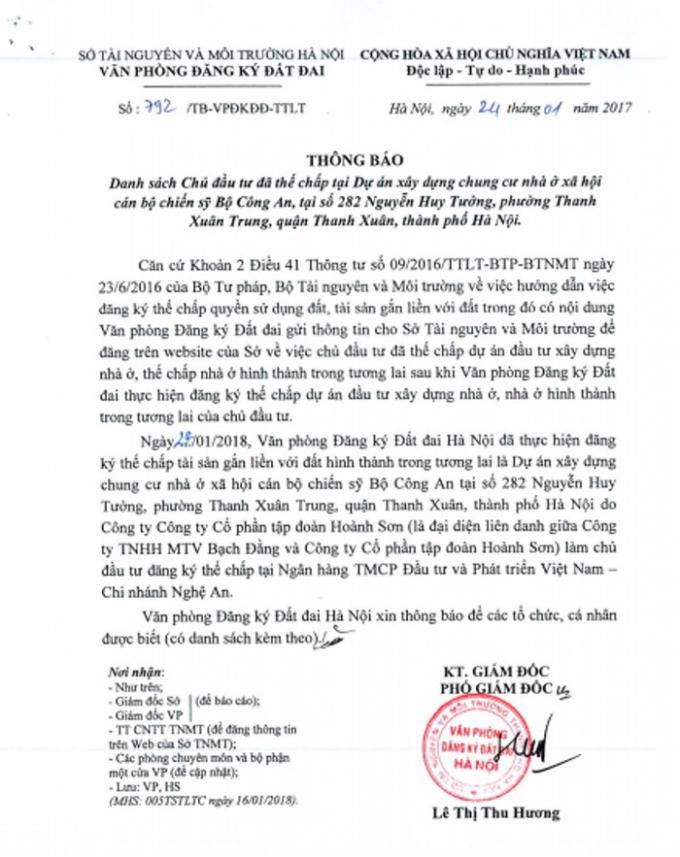 Văn bản của Sở Tài nguyên & Môi trường Hà Nội cho thấy Dự án chung cư nhà ở xã hội cán bộ chiến, sỹ Bộ Công an tại số 282 Nguyễn Huy Tưởng đã được chủ đầu tư đăng ký thế chấp (Ảnh: TL).