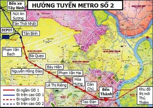 Sơ đồ đường đi của tuyến metro số 2. Ảnh:BQL Đường sắt đô thị TP HCM.