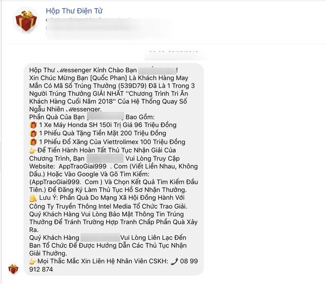Lừa đảo trúng thưởng trên Facebook đang bùng phát ngày đầu năm.