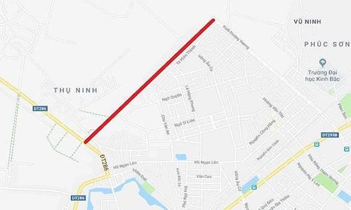 Tuyến đường H2 có chiều dài hơn 1,39km có điểm đầu từ đường Kinh Dương Vương, điểm cuối giao với TL.286 tại phường Kinh Bắc, thành phố Bắc Ninh.Ảnh: Tiền phong.