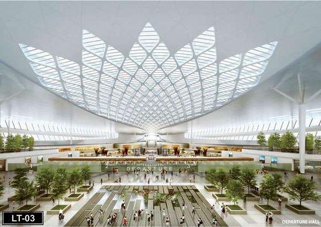 Phối cảnh sảnh đi Cảng hàng không quốc tế Long Thành.