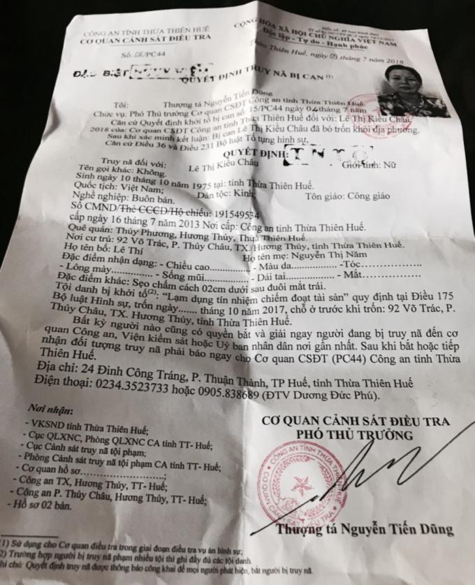 Quyết định truy nã số 08/PC44 ngày 9/7/2018 đối với bị can Lê Thị Kiều Châu.