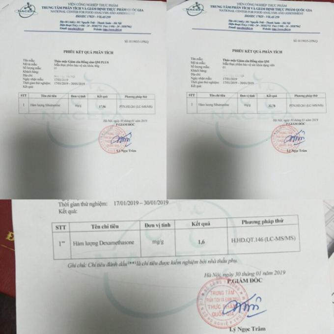 Kết quả kiểm nghiệm của Trung tâm phân tích và giám định thực phẩm Quốc gia về sản phẩm viên uống tăng và giảm cân của Công ty Hồng Sâm QM
