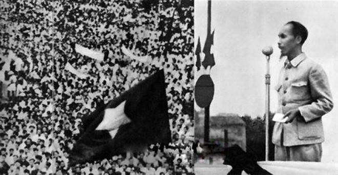 Chủ tịch Hồ Chí Minh vĩ đại đọc bản tuyên ngôn độc lập khai sinh ra nước Việt Nam Dân chủ Cộng hòa(Ảnh: Tư liệu).