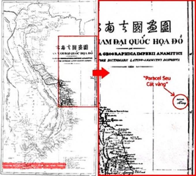 An Nam Đại quốc họa đồ của Giám mục Taberd xuất bản năm 1838 khẳng định Paracels (Cát V� ng, Ho� ng Sa) nằm trong vùng biển Việt Nam. Ảnh: ĐNĐT