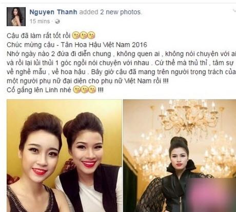 Nguyễn Thị Thành chúc mừng Đỗ Mỹ Linh và chia sẻ tâm sự thầm kín của cả hai.