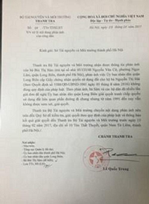 Công văn số 04/Ttr-TDXLĐT do ông Lê Quốc Trung, Chánh thanh tra Bộ TNMT ký gửi Sở tài nguyên môi trường TP Hà Nội về việc giải quyết thông tin phản ánh của bà Bùi Thị Sâm.