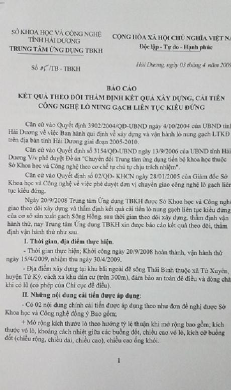 Kết quả thẩm định kết quả xây dựng, cải tiến công nghệ lò nung gạch liên tục kiểu đứng do Sở KH&CN tỉnh Hải Dương thẩm định.