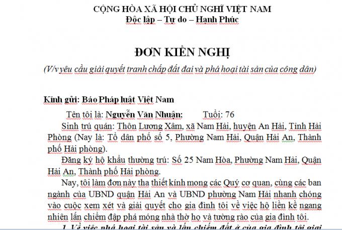 Đơn kiến nghị của ông Nguyễn Văn Nhuận gửi Báo pháp luật Việt Nam.