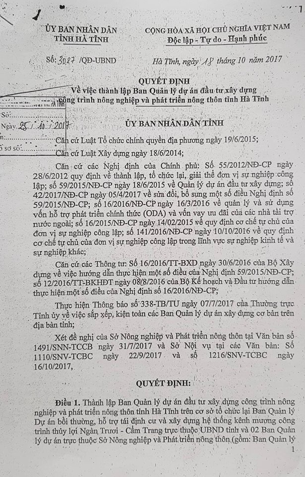 """UBND tỉnh Hà Tĩnh ban hành Quyết định 3027/QĐ-UBND thành lập """"BQL dự án đầu tư xây dựng công trình NNPTNT tỉnh Hà Tĩnh."""