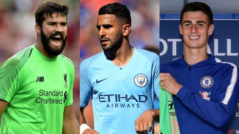 Kepa Arrizabalaga,Alisson Becker,Riyad Mahrez là những tân binh đắt giá nhất của kỳ chuyển nhượng hè năm 2018.