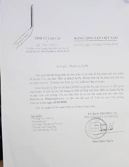 Tỉnh ủy Lào Cai ban hành công văn hỏa tốc yêu cầu Huyện ủy Sa Pa kiểm tra làm rõ nội dung mà Phapluatplus.vn đã phán ánh.
