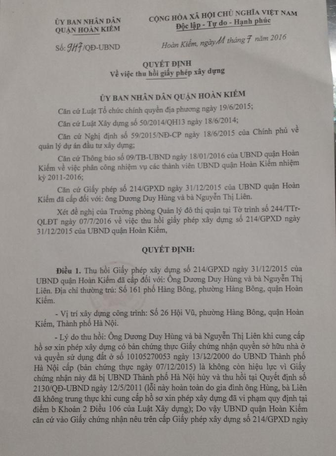Kỷ luật Chủ tịch phường Hàng Bông, công trình xây dựng sai phép tại 26 Hội Vũ vẫn tồn tại?