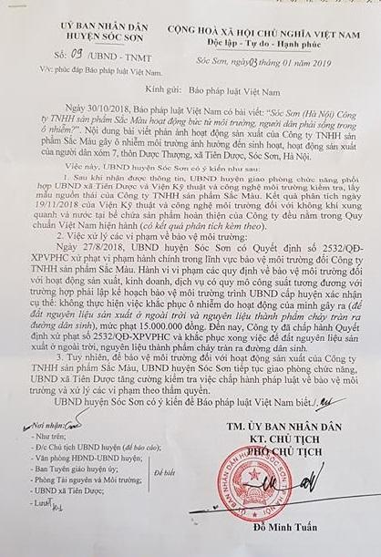 Công văn của UBND huyện Sóc Sơn hồi âm Pháp luật Plus.