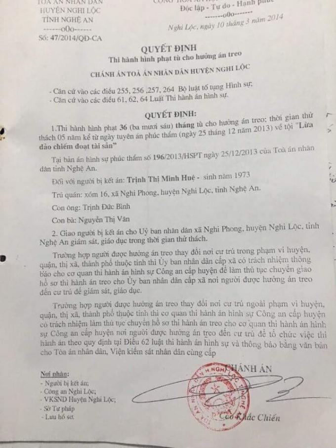 """Quyết định Thi hành án phạt tù của Toà án nhân dân huyện Nghi Lộc đối với bà Trịnh Thị Minh Huệ về tội """"Lừa đảo chiếm đoạt tài sản""""."""
