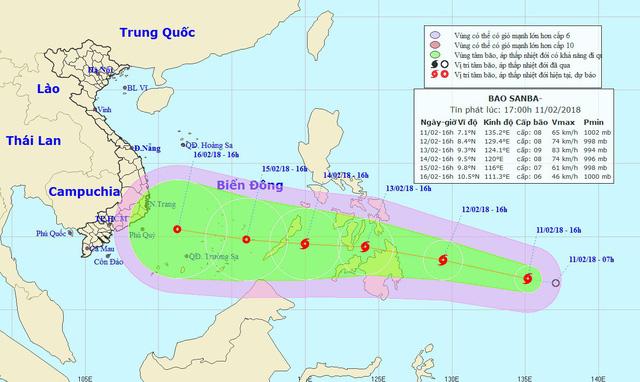 Vị trí và hướng di chuyển của bão Sanba. (Ảnh: NCHMF).