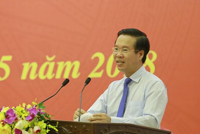 Ông Võ Văn Thưởng, Ủy viên Bộ Chính trị, Trưởng ban Tuyên giáo Trung ương phát biểu tại hội nghị.