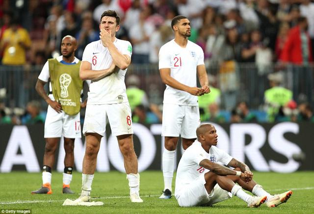 Các cầu thủ tuyển Anh tỏ ra khá thất vọng sau thất bại trước Croatia
