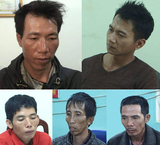 5 bị can tham gia hiếp dâm, sát hại, cướp tài sản nữ sinh 22 tuổi. Ảnh:CTV.