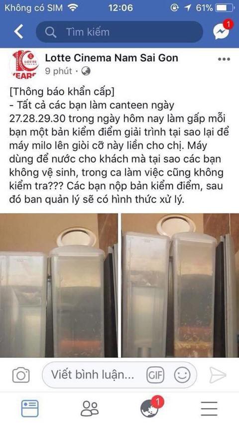 Quản lý công ty vô tình đăng hình ảnh máy pha sữa có giòi lên fanpage rạp. Ảnh:Internet.