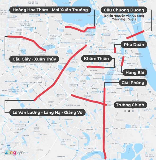 13 tuyến phố cấm xe hợp đồng giờ cao điểm ở Hà Nội. Đồ hoạ:Châu Châu.