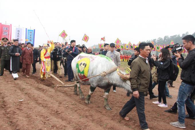 Lễ hội Tịch điền Đọi Sơn năm 2018 - được tổ chức nhằm kỷ niệm ngày vua Lê Đại Hành về cày Tịch điền trên cánh đồng chân núi xã Đọi Sơn. (Ảnh: Nguyên Tuệ)