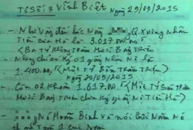 Tờ số 3 trong lá thư tuyệt mệnh có đề cập chuyện vay nợ của ông V.T.D