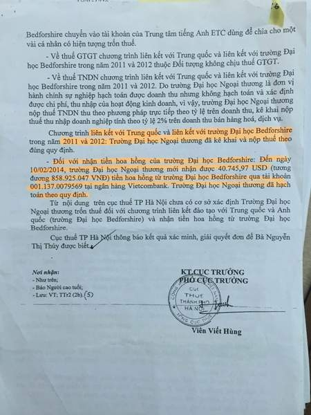 Kết luận của Cục Thuế Hà Nội giải quyết đơn tố cáo của bà Thúy