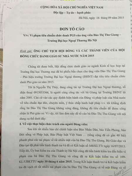 Đơn tố cáo của bà Thúy gửi các cơ quan chức năng đề nghị làm rõ những sai phạm của bà Đào Thị Thu Giang- Hiệu phó Đại học ngoại thương