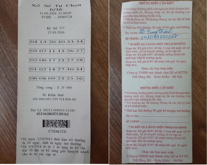 Tờ vé số của độc giả Lê Trung Thành nghi bị đánh tráo.