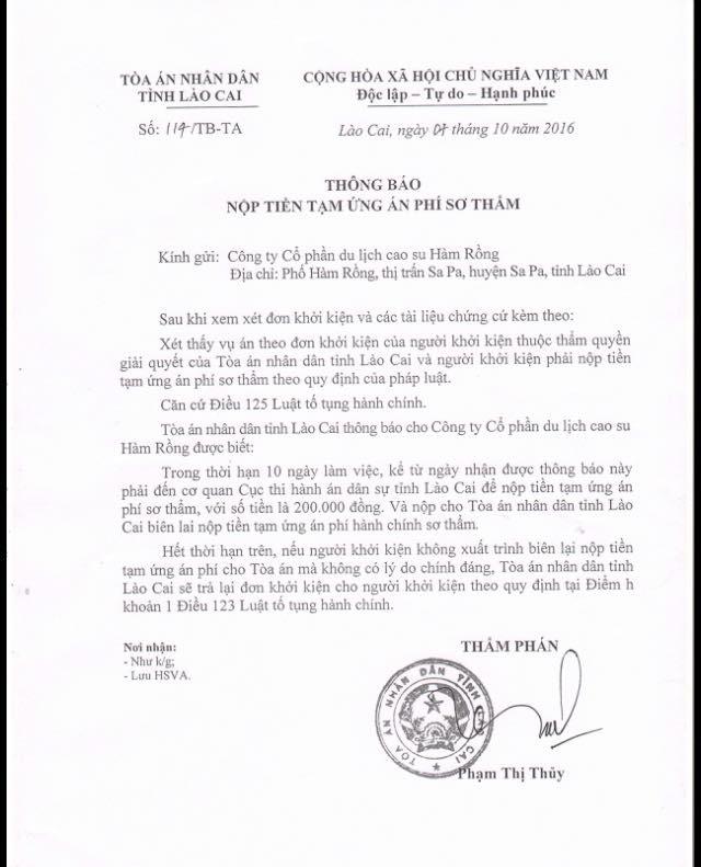 Thông báo nộp án phí, thụ lý vụ khởi kiện UBND tỉnh Lào Cai của công ty Hàm rồng.