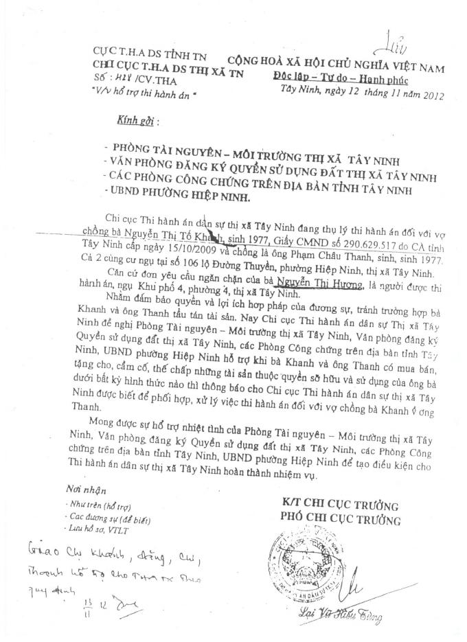 Chi cục Thi hành án dân sư Thị xã Tây Ninh gửi các phòng ban của Thị xã.
