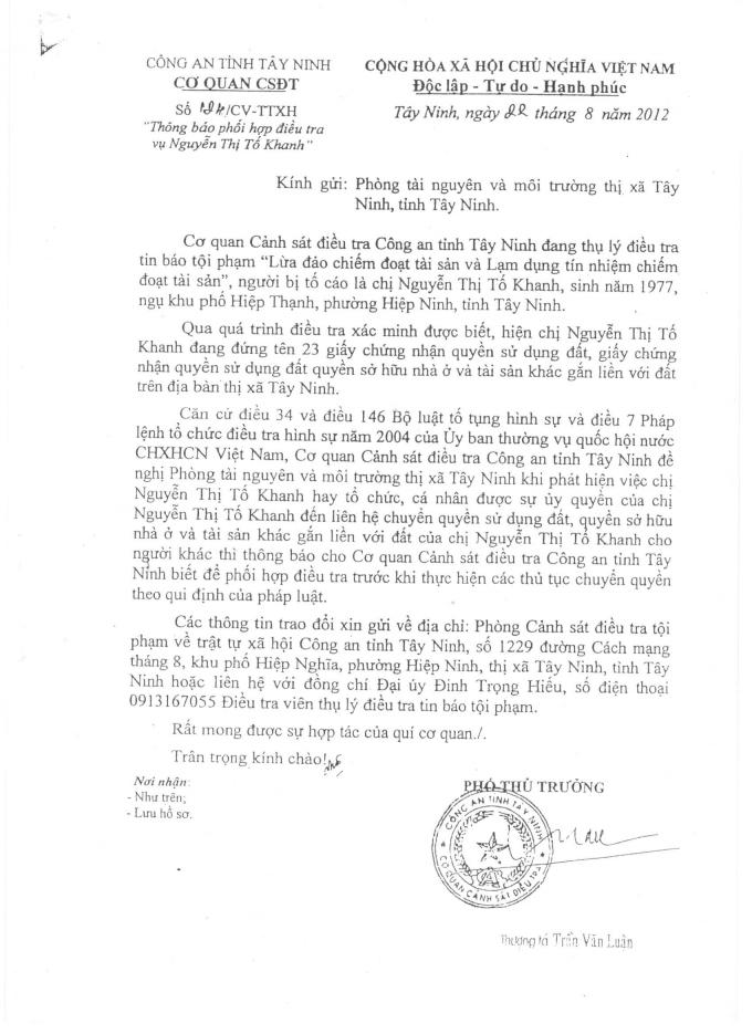 Cơ quan CSĐT CA tỉnh Tây Ninh gửi Phòng TNMT Thị xã Tây Ninh.