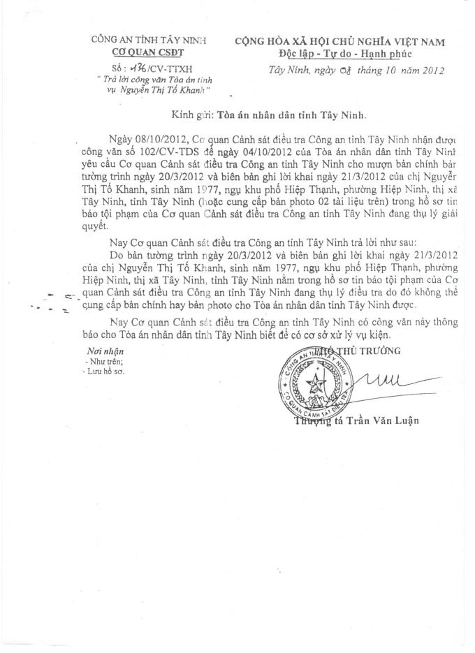 Cơ quan CSĐT CA tỉnh Tây Ninh gửi TAND tỉnh Tây Ninh.