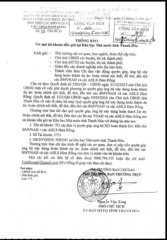 Thông báo về việc mở tài khoản tiền gửi tại kho bạc nhà nước tỉnh Thanh Hóa.