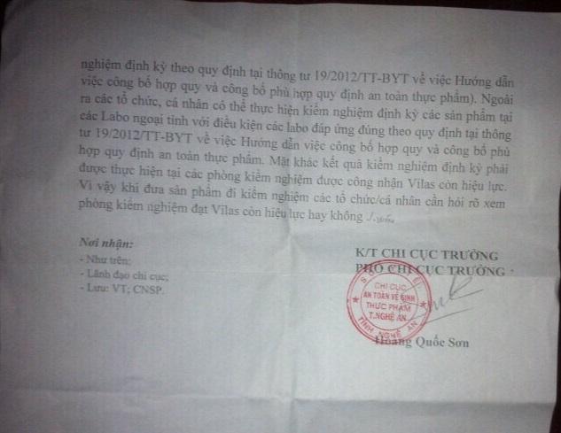 """Ông Hoàng Quốc Sơn, Phó chi Cục trưởng Chi cục ATTP Nghệ An vừa ban hành công văn """" lạ"""" vẫn chưa được làm rõ."""