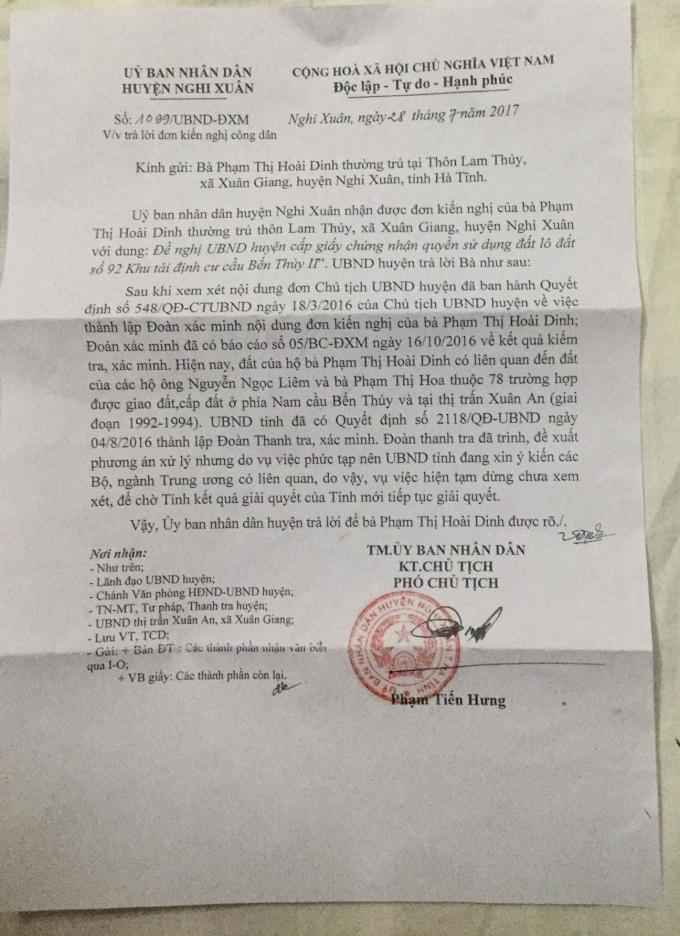 Công văn của UBND huyện Nghi Xuân trả lời đơn kiến nghị của bà Dinh.